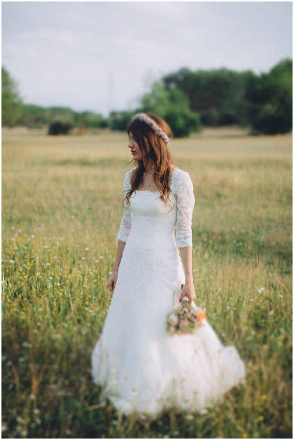 bohemian Pronovias wedding dress