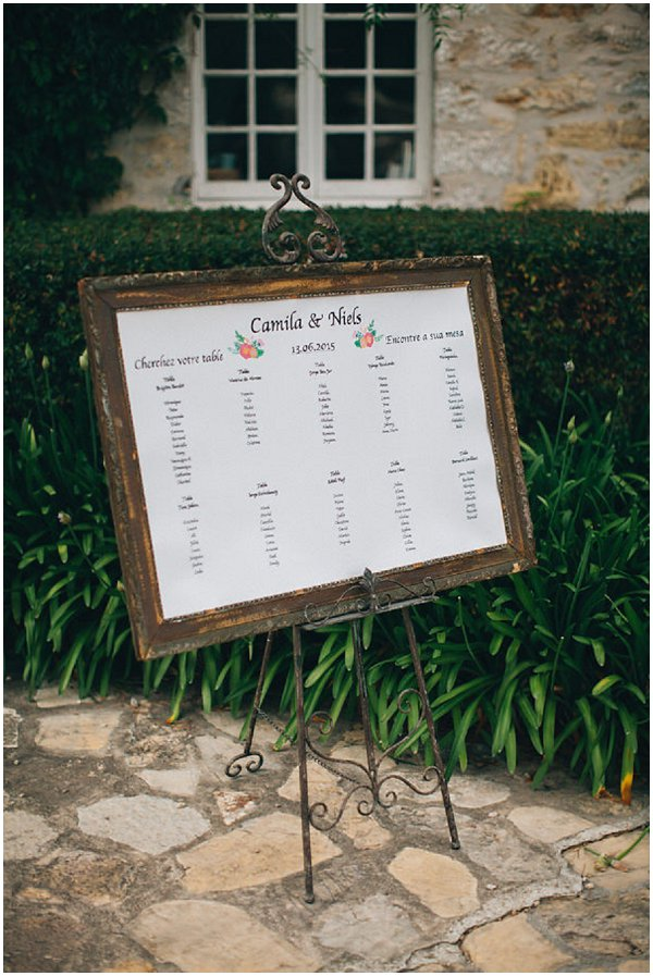 rustic frame wedding table plan