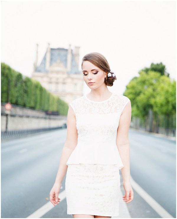 Short white wedding dress Paris