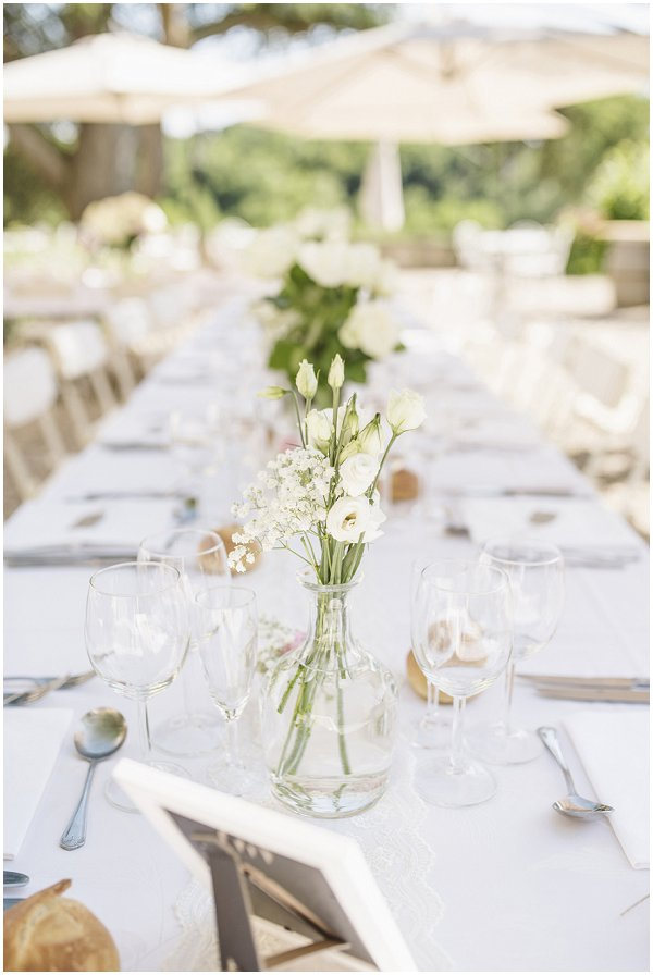 simple summer white wedding tables