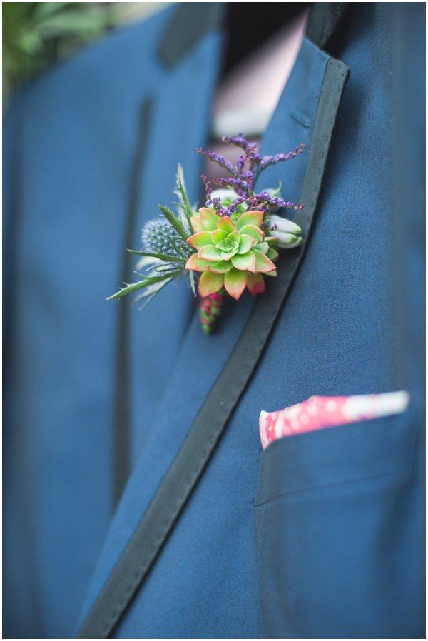 succulent groom buttonhole