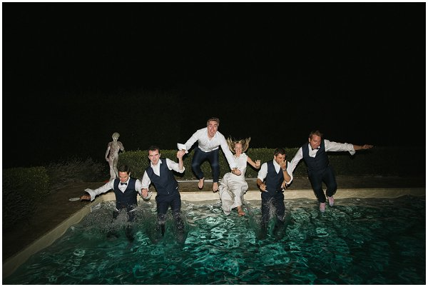 wedding party in pool
