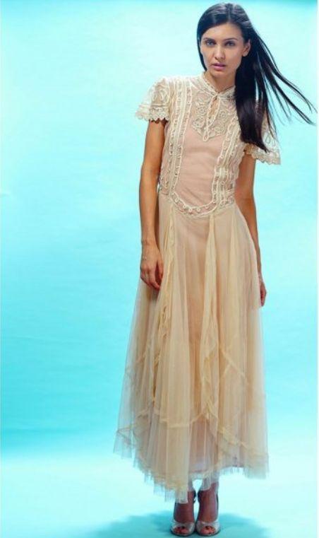 Edwardian Victoria Wedding Dress in Butter by Nataya