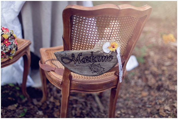 Fall wedding chair sign