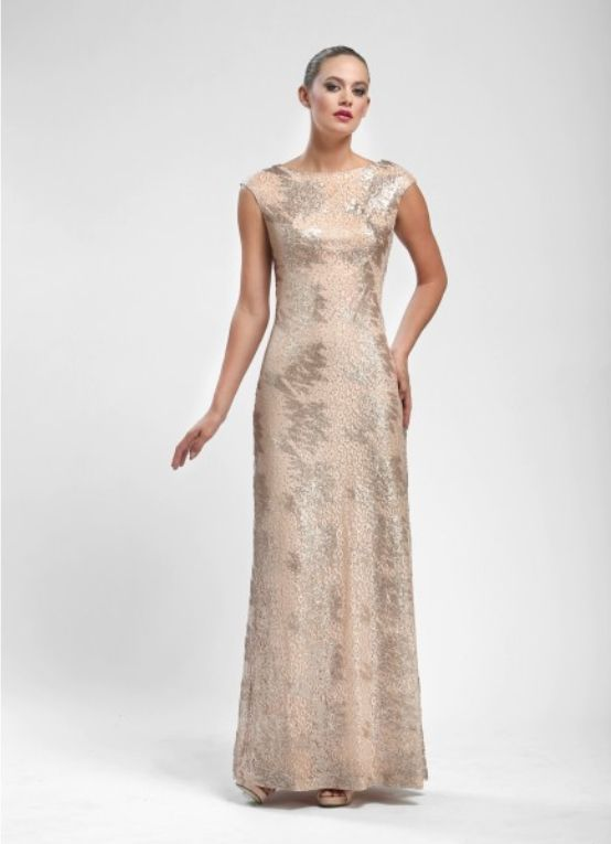 Metallic Lace Overlay Ball Gown in Blush by Sue Wong