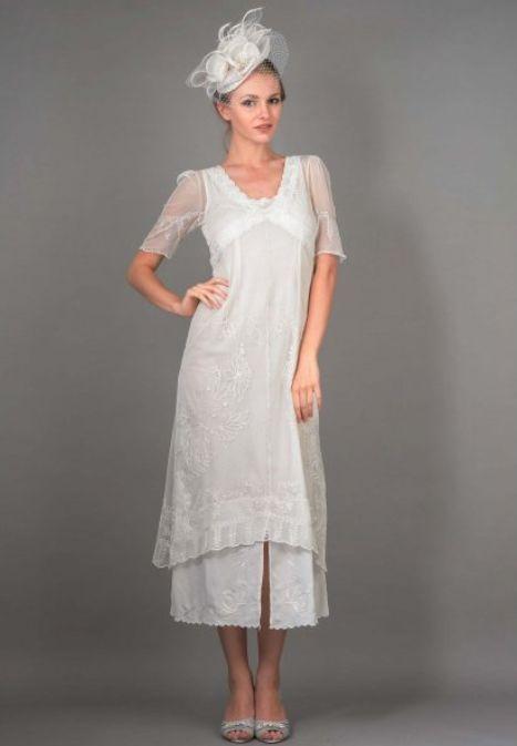 New Vintage Titanic Tea Party Dress in Ivory by Nataya