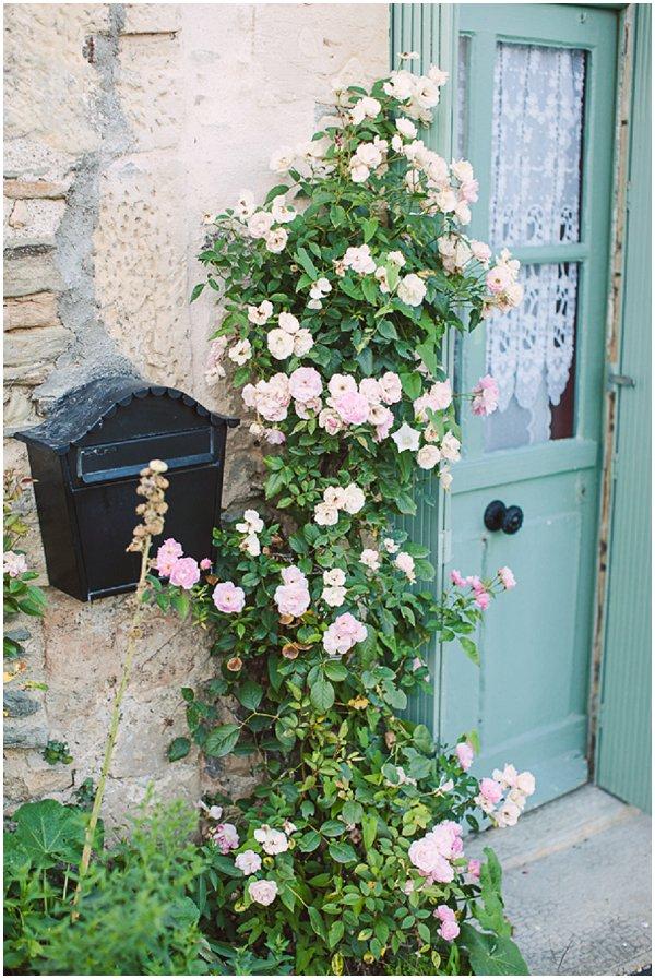 Pretty mint green French doorway