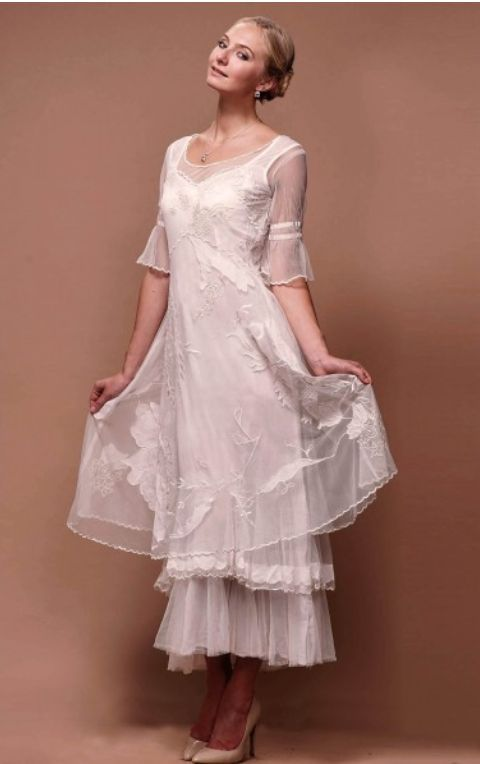 Titanic Tiered Vintage Wedding Dress in Ivory by Nataya