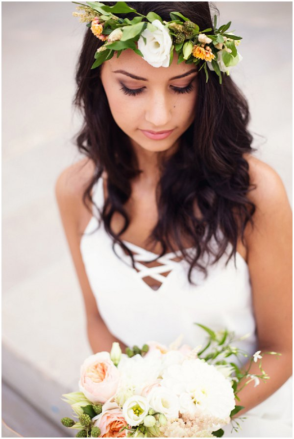 bride in Paris with floral headdress and natural makeup