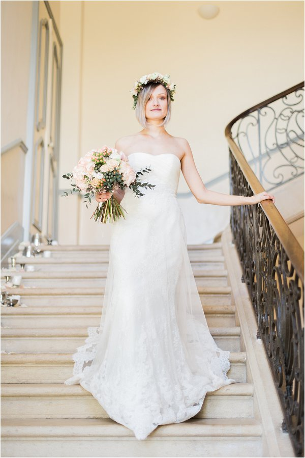 classic bridal style with flower crown