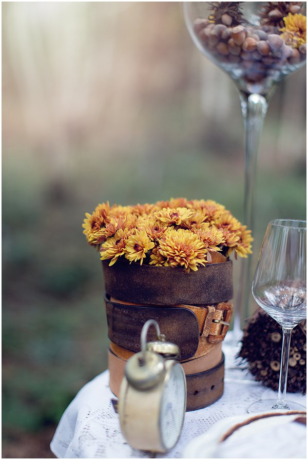 fall wedding flowers in DIY vase