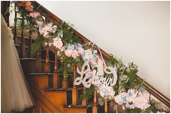 floral staircase dressing