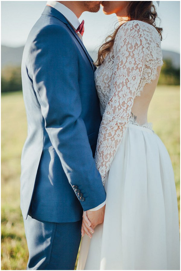 lace sleeve and backless wedding dress