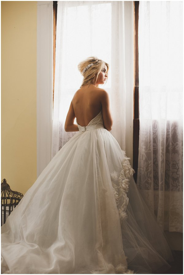 low back french inspired wedding dress