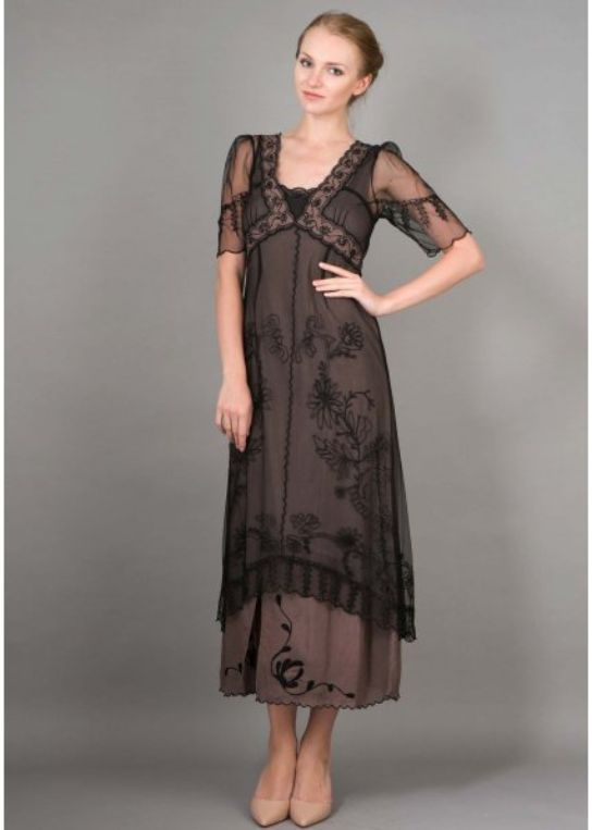 mother of the bride New Vintage Titanic Tea Party Dress in Black