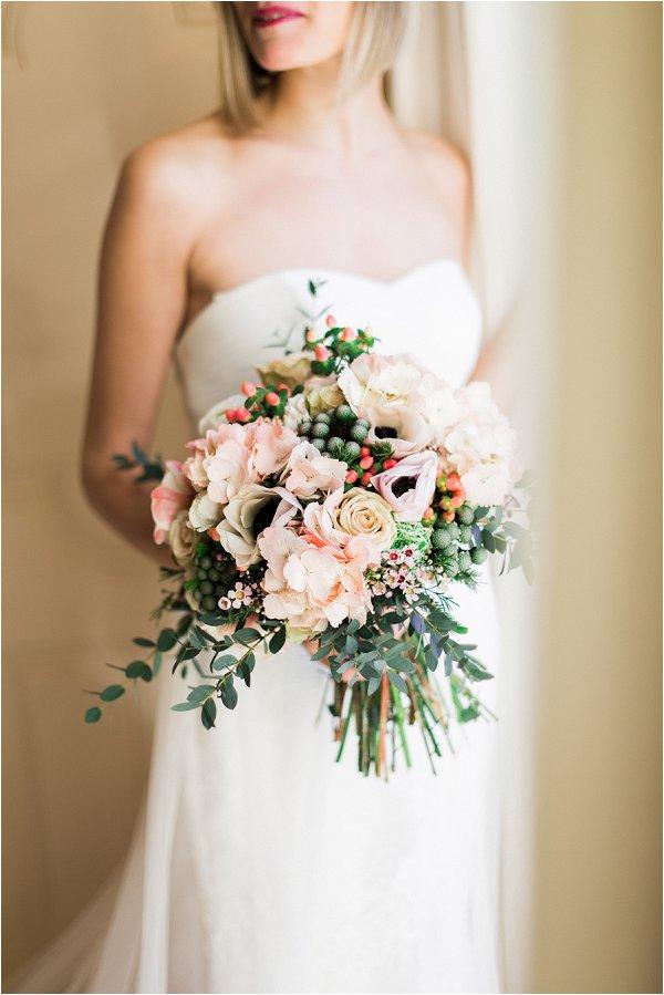 pastel and foliage bridal bouquet