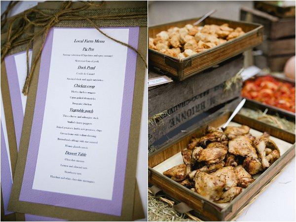 Menu at French Wedding Reception