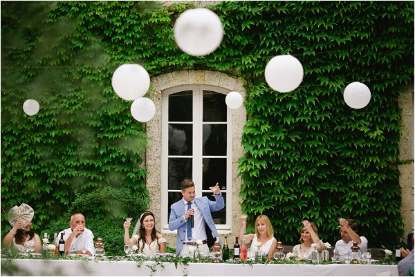 Groom Champane Toast at French Chateau Wedding