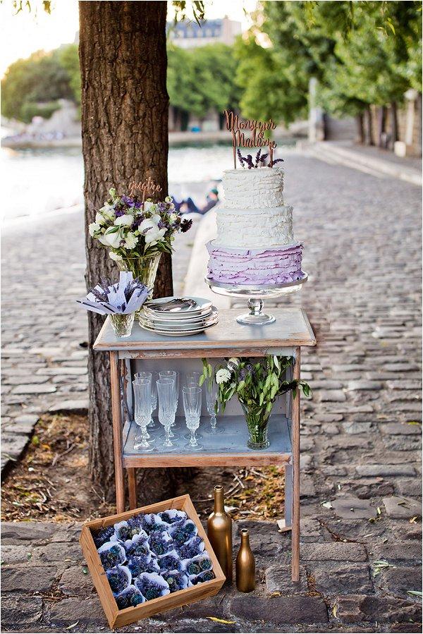 lavender wedding cake bar