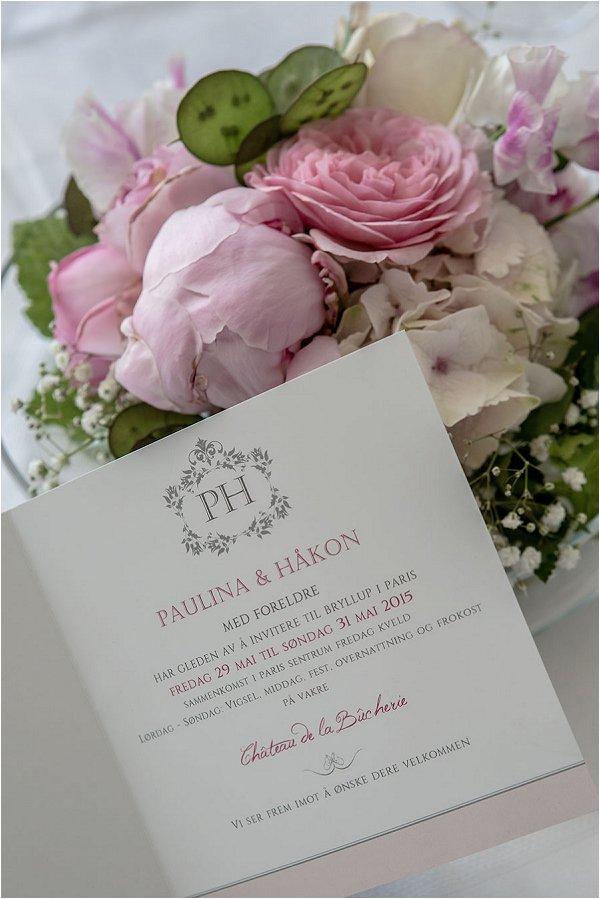 pink tone wedding invitation