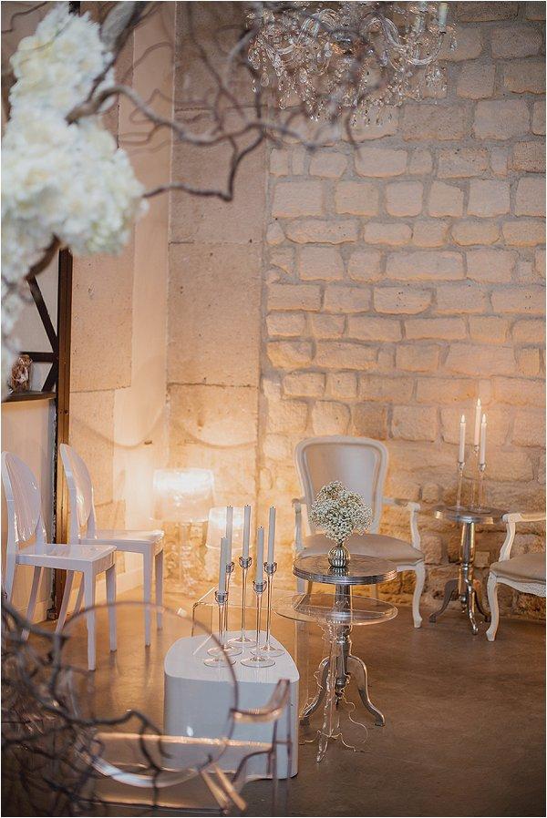 romantic white wedding styling