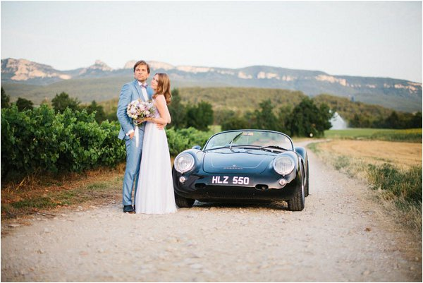 vintage Porsche wedding car
