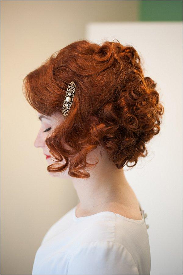 vintage style red head bride