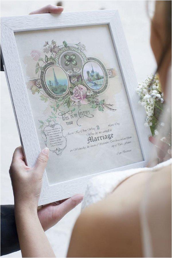 wedding certificate Paris