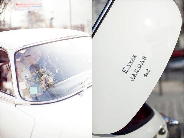 white vintage Jaguar