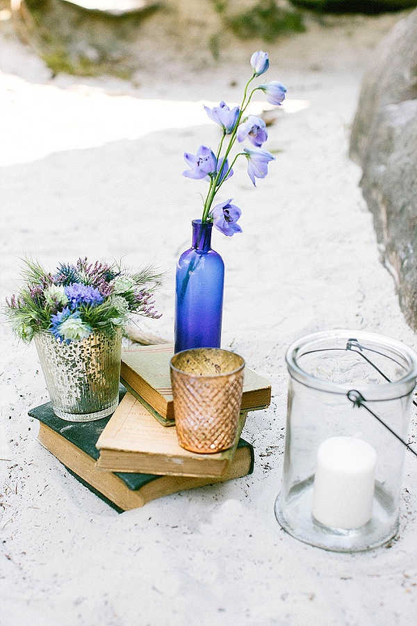 Blue bottles and blooms wedding ideas