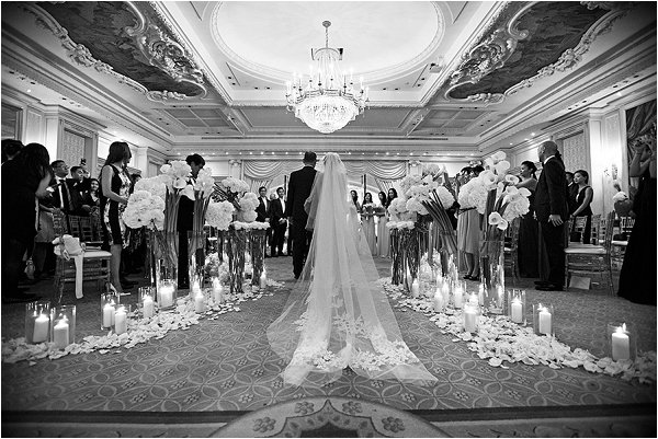 Cathedral style veil for Brides arrival in luxury Paris wedding