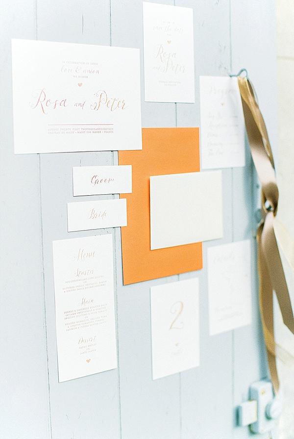 Copper and blush wedding stationary