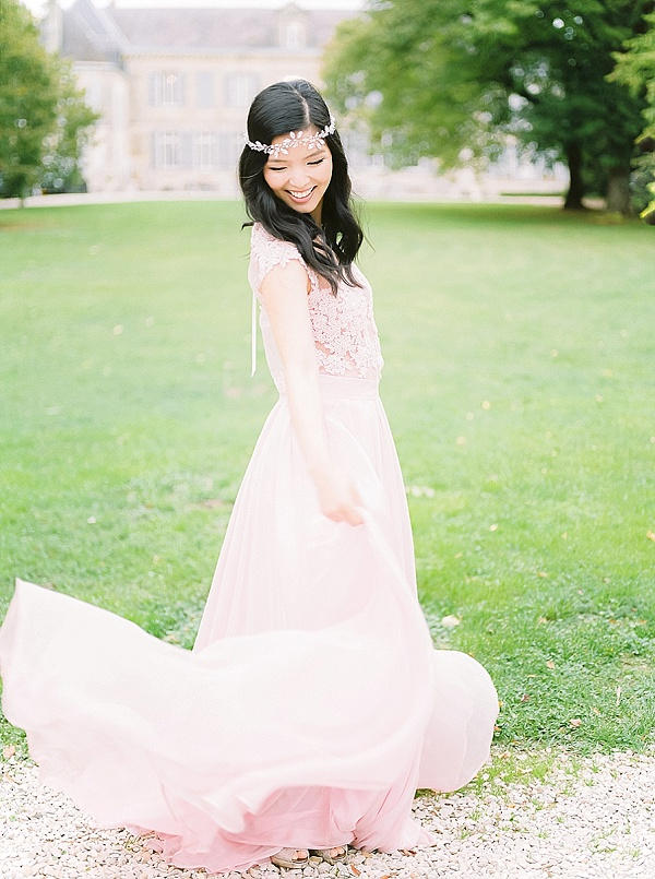 Custom made blush and lace gown