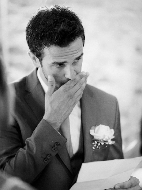 Emotional Groom reading his vows in real life wedding