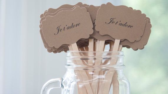 French themed wedding drinks stirrers