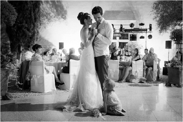Intimate first dance complete with flower girl