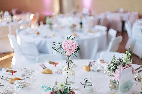 Pretty pastel wedding table decor