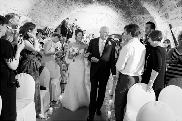 Real life bride and her father walking down the aisle