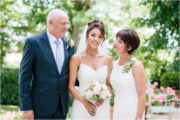 Real life bride and her parents at Chateau de Mauriac