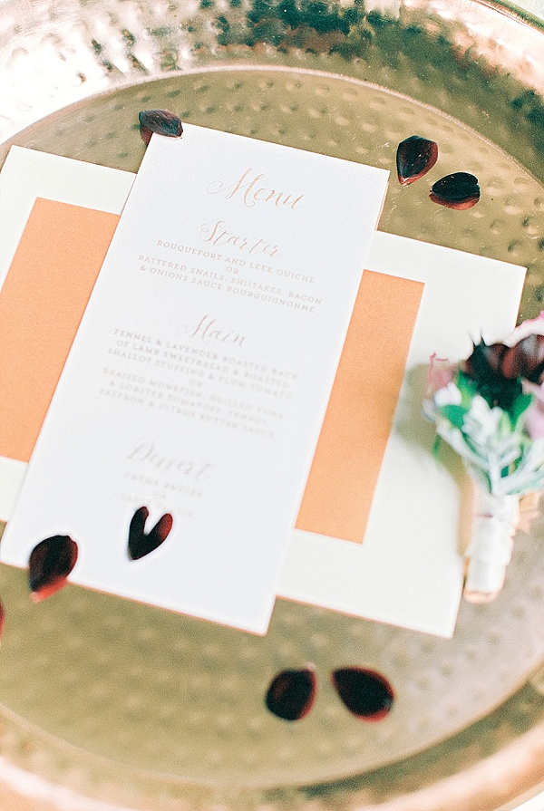 Wedding stationery with copper