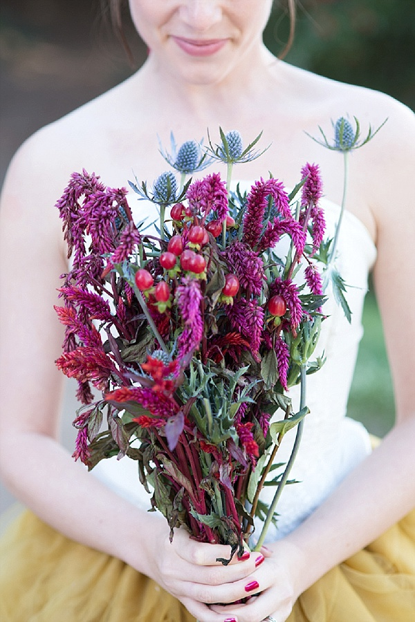 Winter berry wedding flowers