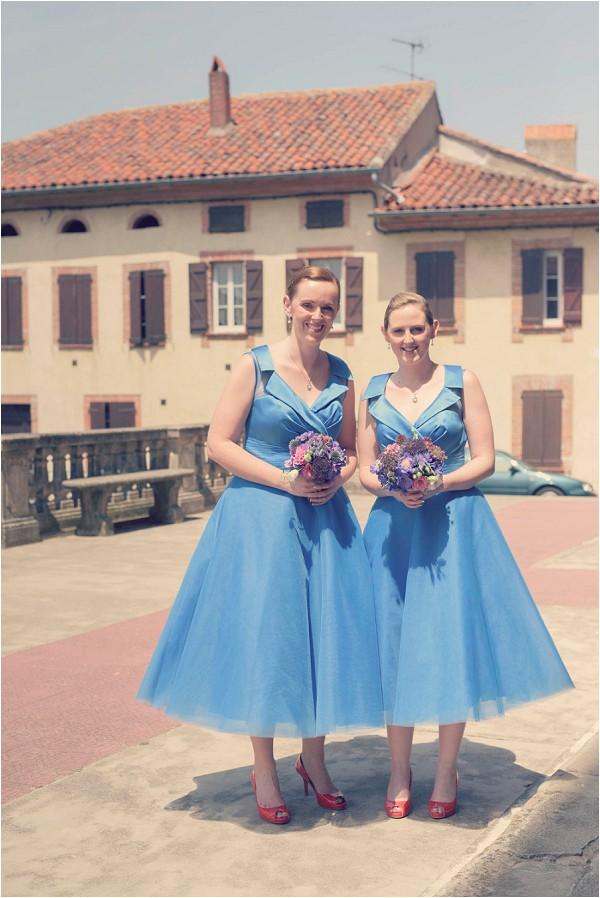 blue 50s style bridesmaid dresses