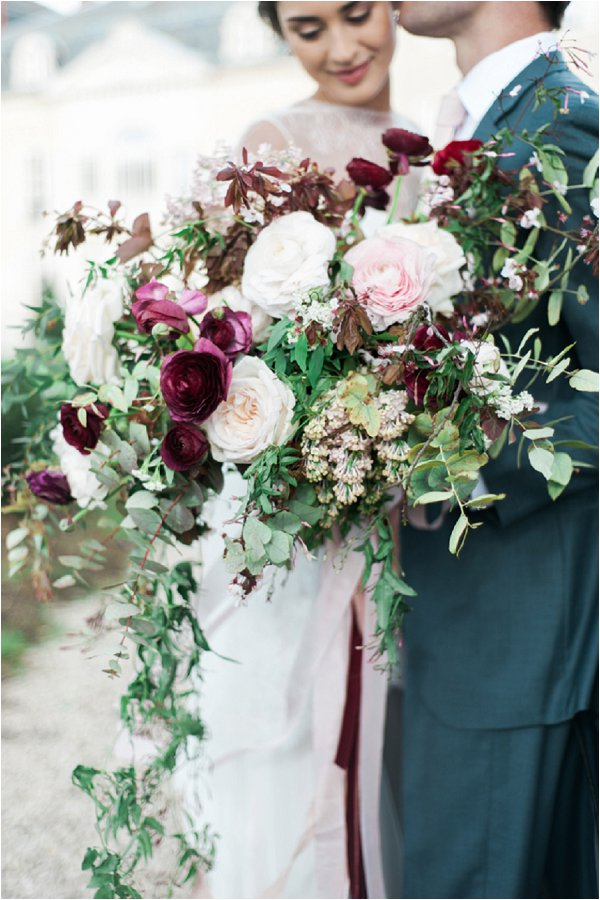 burgundy accent wedding bouquet