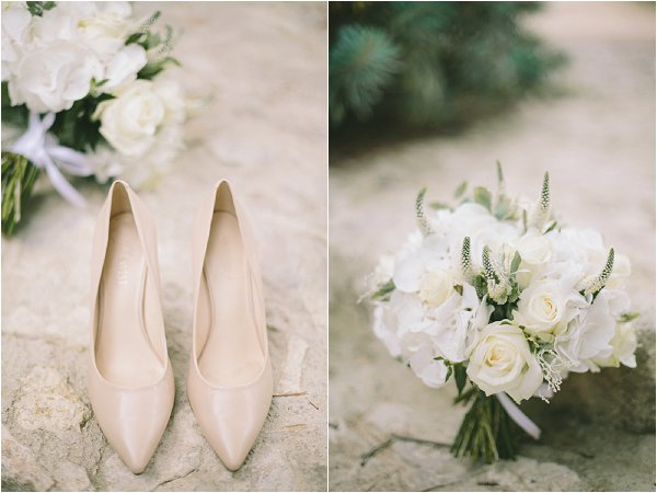 cream bridal shoes and white bouquet