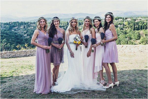 lavender tone bridesmaid dresses
