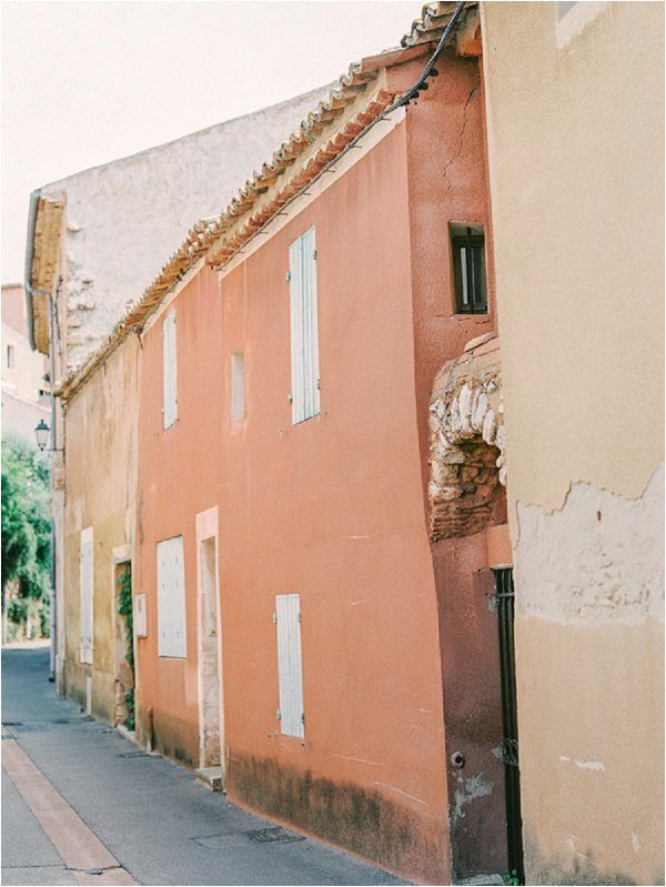 peach colored French buildings