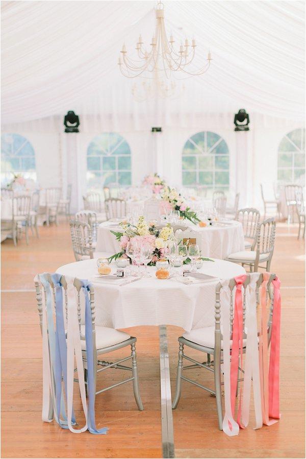 pretty pastel marquee wedding reception