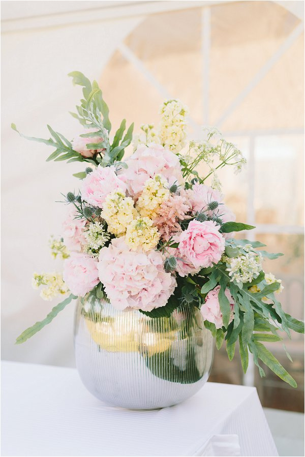 pretty pink wedding floral display