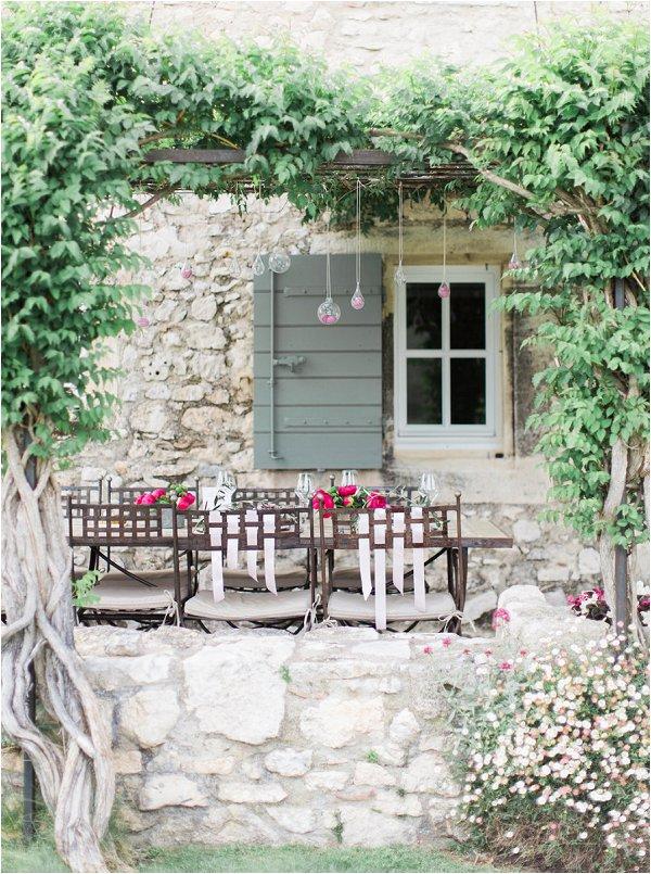 Beautiful outdoor wedding dining table at Mas de la Rose in Provence