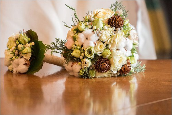 Beautiful winter wedding bouquets in neutral colours